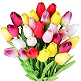 28 Pcs Multicolor Tulips Artificial Flowers Faux Tulip Stems Real Feel PU Tulips for Easter Spring Wreath Wedding Bouquet Centerpiece Floral Arrangement Cemetery Table Décor 14' Tall