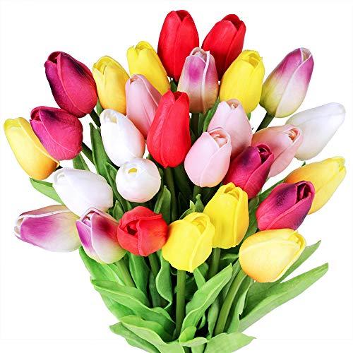 28 Stück Tulpe künstliche Blume Latex Real Touch Bridal Wedding Bouquet Home Decor (Mehrfarbig)