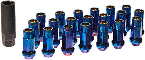 "MUTEKI 32906UN SR48 Series Burned Blue 12mm x 1.5"" Thread Size Open End Lug Nut, (Set of 20)"