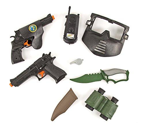 Militär-Set Kinder-Spielzeug 2x Pistolen Revolver Holster Walkie-Talkie Maske Messer Fernglas Triller-Pfeife Soldaten-Set Ausrüstung 9-tlg. Spielzeug-Waffe Kinder-Kostüm Verkleidung Karneval Fasching