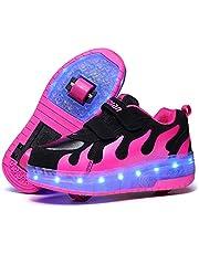 Flickor Roller Skate Skor Boys Sneakers USB Laddningsrulle Skate Skor Led Light Up Wheels Två Hjulskor För Barn Nybörjare Gåva,Black pink,31