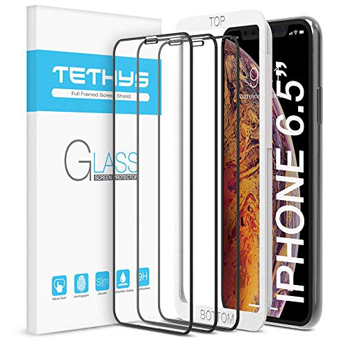 TETHYS Glass Screen Protector Designed for Apple iPhone 11 Pro Max/iPhone Xs Max (6.5') [Edge to Edge Coverage] Full Protection Durable Tempered Glass [Guidance Frame Included] - Pack of 3