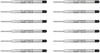 Parker Quink Flow Ink Refill for Ball Point Pens, Medium Point - Black (Pack of 12)
