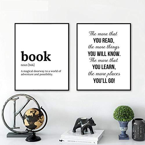 ZGZART Minimalistischer Buchtext Lernen Sie mehr, um mehr zu erfahren Leinwandmalerei Poster und Drucke Schlafzimmer Wandkunst Bilder Wohnzimmer Dekor / 40x50cmx2-Kein Rahmen