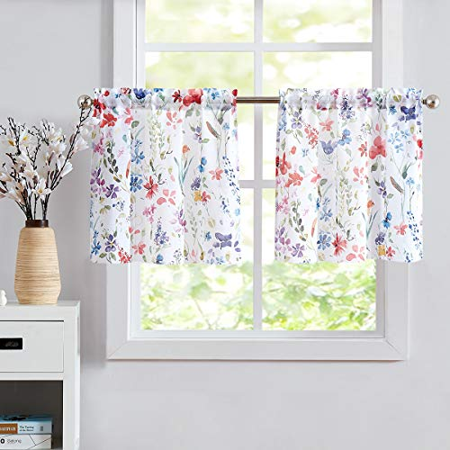 """Floral Print Kitchen Curtains 24 inch, Multi-Color Tier Curtain Set for Windows Linen Semi-Sheer Short Curtains for Bathroom, 28"""" W x 24"""" L,2 Panels Rod Pocket"""