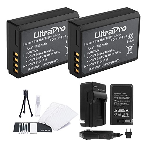 LP-E10 Battery 2-Pack Bundle with Rapid Travel Charger and UltraPro Accessory Kit for Select Canon Cameras Including EOS Digital Rebel T3, T5, T6, T7, 1100D, 1200D, 1300D, Kiss X50, and X70