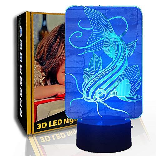 KangYD Luz nocturna 3D Creative Fish, lámpara de ilusión LED, lámpara para niños, F- Base de audio Bluetooth (5 colores), Lámpara de escritorio, Decoración del bar