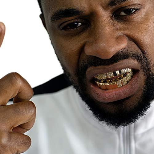 NICEWL 14 Karat Vergoldete Iced Out Hip Hop Zähne Grillz, Handgefertigte Micro Pave Simulation Diamantzahngrills, Mode Cz Crystal Punk Style Vampire Fangs Braces,Gold
