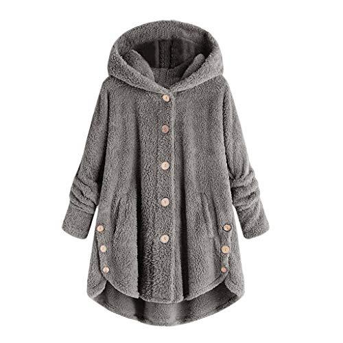 BaZhaHei Damen Mantel Winter Warm Mode Plus Size Knopf Mantel Flauschigen Schwanz Tops Kapuzenpullover lose Pullover Teddy Plüschjacke Oversize Winterjacke Coat Parka Outwear (4XL, Grau)