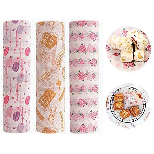 Wenlai 150 Blatt Fettdichtes Papier, Bienenwachs-Wrap-Papier, Macaron-Muster, Stempelmuster und rosa Rosenmuster, Antihaft Lebensmittelverpackungs Papier, für Sandwich Käse Obstbrot Gemüse