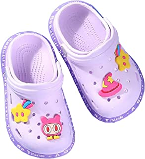 Hopscotch Baby Boys and Baby Girls PVC Applique Animal Clog in Purple Color
