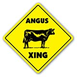 [SignJoker] ANGUS CROSSING Sign xing gift novelty cattle cow steer beef steak meat Wall Plaque Decoration