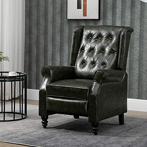 Homesailing EU Living Room Retro Reclining Chair Adjustable Armchairs Wing Back Fireside Bedroom Leisure Chairs with PU Leather Single Sofa Chair Home Cinema Lounge