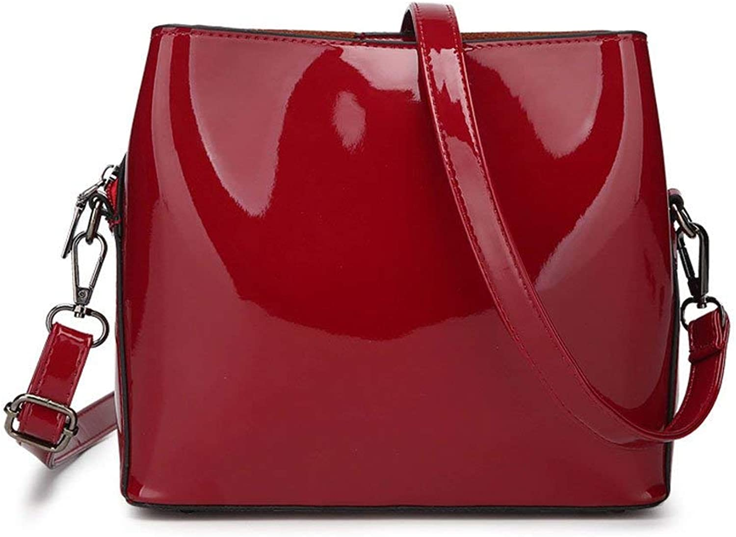 Huasen Evening Bag Lady Bags Fashion Patent Leather Mirror Trend Ms Shoulder Crossbody Packet Simple Temperament Party Handbag (color   Red)