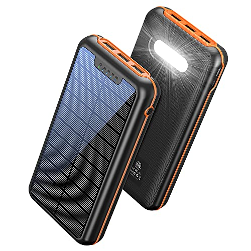 Solar Power Bank 36000mAh, Portable Solar Charger, External Battery Pack with Tri USB Port 5V/2A Output & Dual Inputs, Waterproof Powerbank, Flashlights Cell Phone Charger for Camping Outdoor