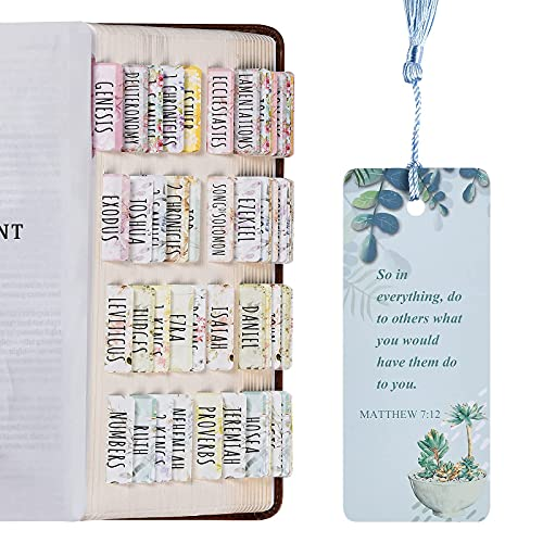 Bible Tabs, Laminated Large Print and Easy-to-Read Bible Tabs for Women and Girl, 80 Bible Index tabs in Total, 66 Bible Tabs for Old and New Testament, Additional 14 Blank tabs