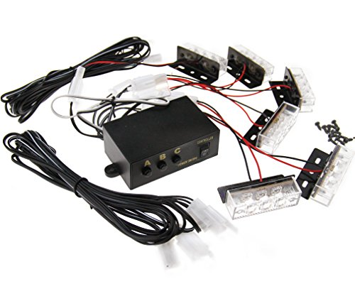 6x 12V LED Flashlight Auto Licht Leuchtmittel Warnleuchte Strobe Gelb Blitzer