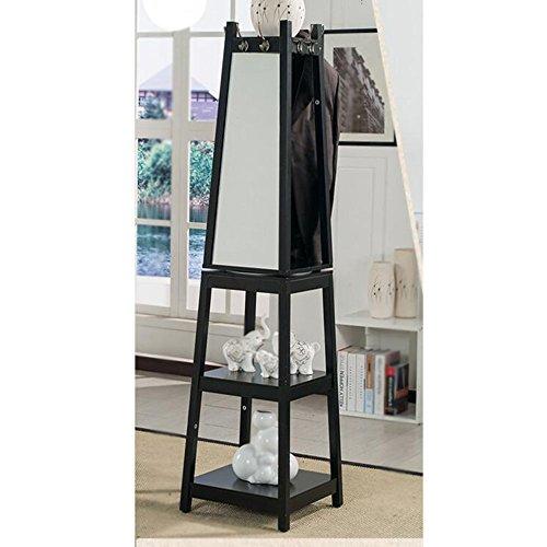 Xiaolin Porte-Manteau à Miroir pivotant de Salon en Bois Massif Suspendu au Sol avec Couleur de Miroir en Option (Couleur : Noir)