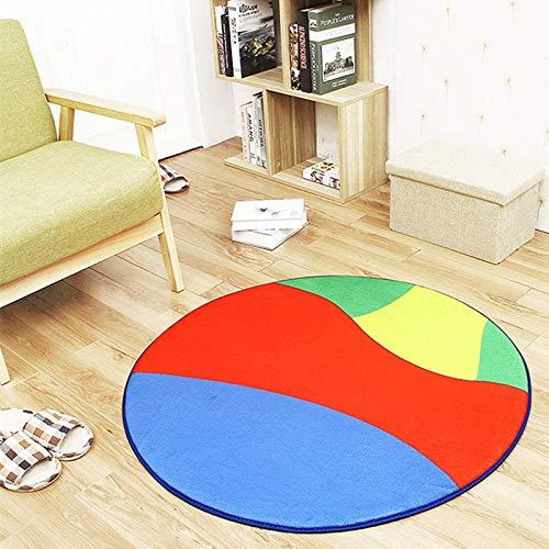 SDAFSA Sofa Matteanti-Rutsch-Polyester Ball Runden Teppich Computer Stuhl Pad Fußball Basketball Wohnzimmer Matte Kinder Schlafzimmer Teppiche Schlafzimmer-Multi_Durchmesser 120Cm