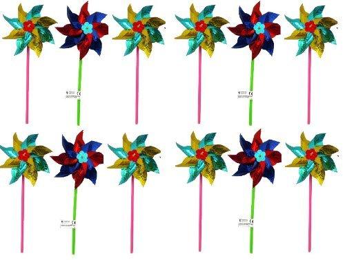 Henbrant - Girandole da giardino olografiche, 18 cm, colori assortiti (Confezione da 12)