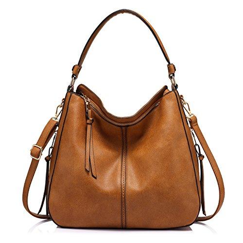 Handtaschen Damen Lederimitat Umhängetasche Designer Taschen Hobo Taschen groß Mit Quasten Hellbraun