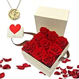 Gifts for Women-Red Preserved Roses,5 in 1 Rose Flower Gift...
