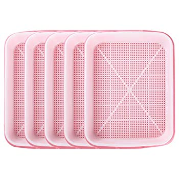 Ymeibe Seed Sprouter Tray BPA Free Seed Germination Nursery Tray with Drain Holes for Planting Seedlings Great for Home Garden Office - 5 Pack  Pink