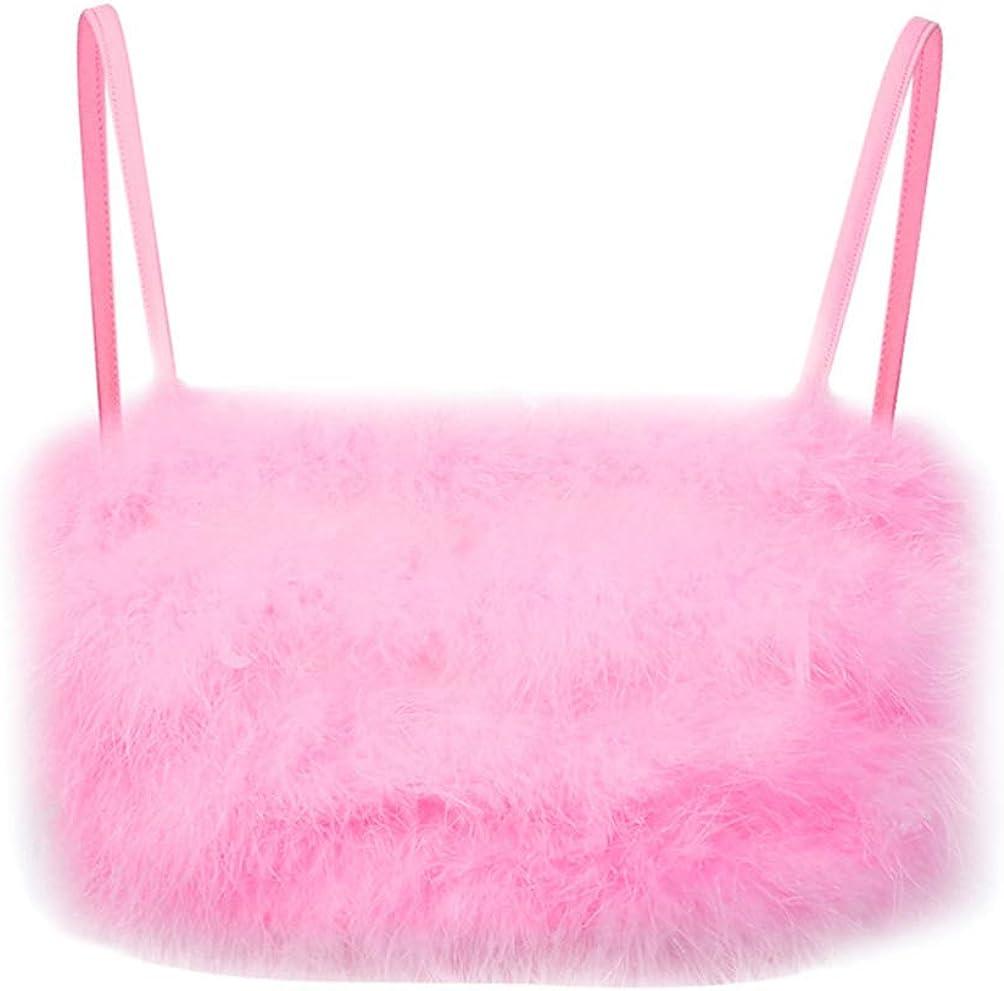 TENDYCOCO Women Tank Top Faux Fur Cami Camisole Crop Top Spaghetti Strap Top Fuzzy Sexy