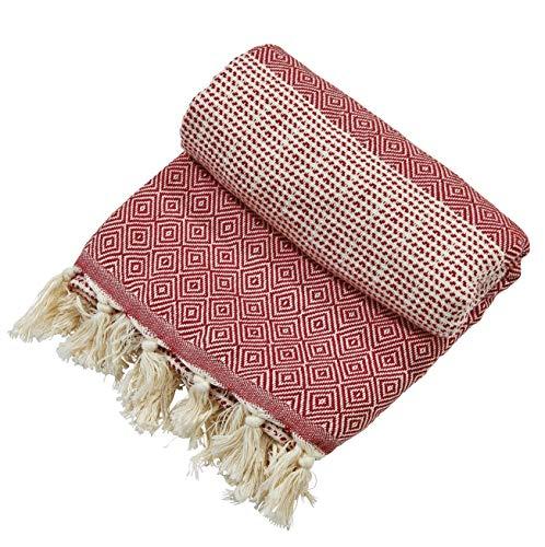 done. Jeté de canapé Lounge Diamond - 100% coton - 100x180 cm - Rouge