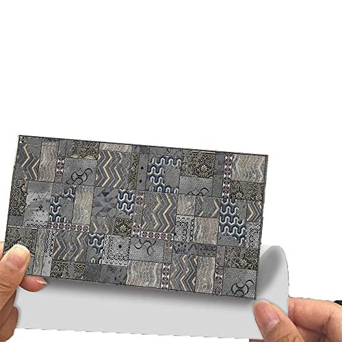 Hiseng 24/48 Piezas Rectángulo Adhesivos Decorativos Azulejos Pegatinas para Baldosas del Baño, Mármol Patrón Mosaico Estilo Cocina Resistente al Agua Pegatina de Pared (Gris Oscuro,24Piezas)