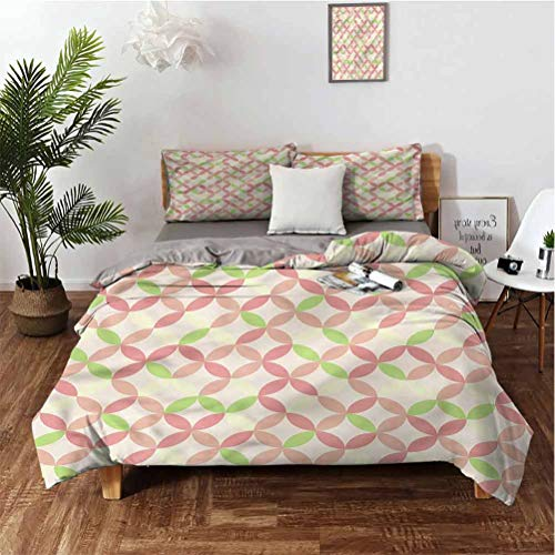 "SUZM B 3-Piece Set of 100% Washed Microfiber Colorful Overlapping Circles Suitable for Any Bedroom or Guest Room California King 98'x104' 20"" x 36"""