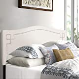 Adeco Queen Upholstered Headboard- School House White Fabric Headboard Panel for Queen Beds with Nailhead Trim- Adjustable Height from 48'' to 52.5''- Cabecero tapizado Queen