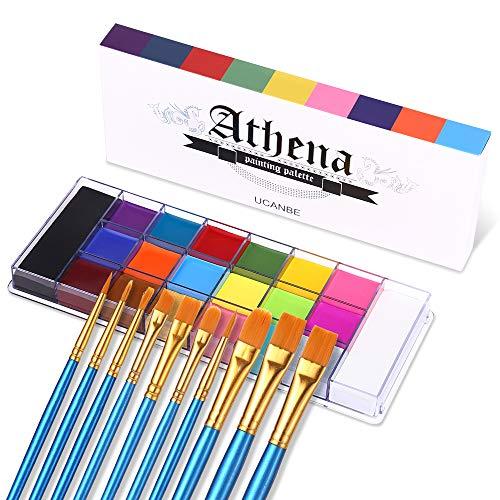 UCANBE Face Body Paint Set - Athena Painting Palette, 10 Professional Artist Brushes
