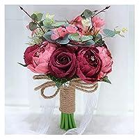 人工観葉植物 フェイクグリーン ウェディングブーケブライダルブーケホワイトピンク人工バラブライドメイドデコレーションブーケブライダルブーケウェディング用品 装飾的な人工植物 (Color : 5)