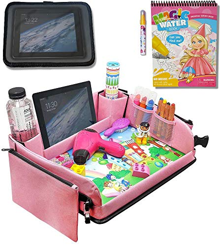 Kids Car Seat Travel Tray (Pink) + Bonus Water Coloring Book + Bonus Car Headrest Tablet Holder |Activity & Stroller Lap Tray