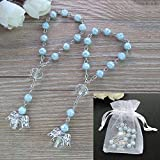 Baptism Favor 12PCS Bue Mini Angel Rosaries Christening First Communion Boy Recuerditos Bautizo Gift for Guest with Gift Bags