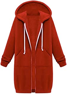FSSE Women Plus Size Fall & Winter Mid Length Coat Hoodies Sweatshirt Jacket