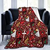 Nutcracker Ballet Red Med Flannel Fleece Blanket Throw Size (50'x60') Lightweight Blankets for Living Room, Sofa, Couch, Bed, Camping, Travel - Super Soft Cozy Microfiber Blanket