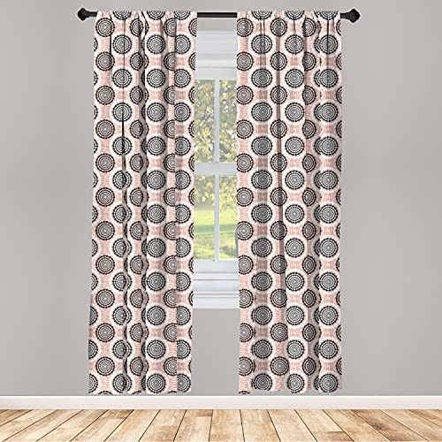 """Ambesonne Peach Curtains, Symmetrical Circular Shapes Pattern Abstract Background Soft Color Image Print, Window Treatments 2 Panel Set for Living Room Bedroom Decor, 56"""" x 63"""", White and Black"""