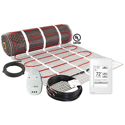LuxHeat 100 Sqft Mat Kit (240v) Electric Radiant Floor heating System for Under Tile & Laminate. Underfloor Heating Kit Includes Heat Mat, Alarm & OJ Microline WiFi Programmable Thermostat with GFCI