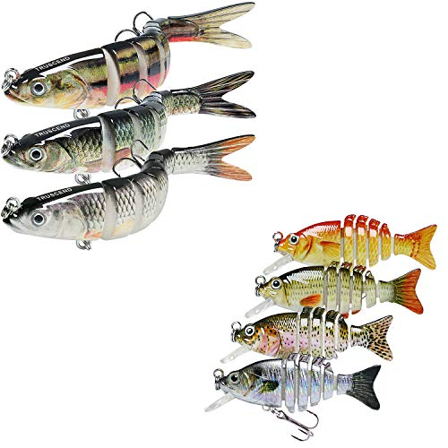 TRUSCEND Fishing Lures for Bass Trout Multi Jointed Swimbaits 5.4' Slow Sinking & 2' Topwater Swimming Lures Bass Freshwater Saltwater Bass Fishing Lures Kit Lifelike