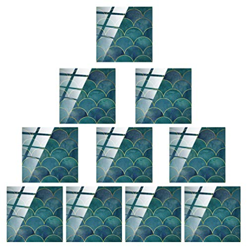 WINOMO DIY Quadratische Fliesen Aufkleber Kristall Fischschuppen Fliesen Selbstklebende Wandfolie Fliesen Wand Klebrige Backsplash wasserdichte Öldichte Abnehmbare Fliesen Stick