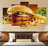 WKXZZS Cuadros Decoracion Dormitorios 5 Piezas 150x80cm - Cuadro sobre Lienzo - Impresión En Lienzo Montado sobre Marco De Madera - Hamburguesa de Comida rápida