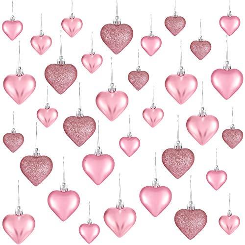 Ornamenti a Cuore di San Valentine, 3 Palline a Cuore in Stile Diverso Palline a Cuore da Albero di Natale Decorazioni Cuore per Anniversario di Matrimonio, 2 Misure (Rosa, 30 Pezzi)