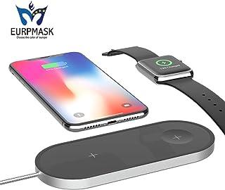 ワイヤレス充電器【第二世代改良版・革新 2in1】EURPMASK Qi急速 Apple Watch Series 4/3/2/1/Nike+ & iPhone Xs Max/XR/Xs/X/8/8 Plus同時に充電可 Apple7.5w/Samsung 10W 急速充電対応 置くだけ充電 Apple/Samsungワイヤレス充電 スタンド Samsung Galaxy S9 / S9 Plus / Note 9/8/ S8 / S8 Plus / S7 Edge / Nexus / Kyocera/他Qi対応機種 ワイヤレス充電可能「品質保証」 (ブラック)