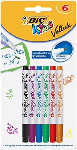 BIC Kids Mini Whiteboard Marker Velleda (Blister à 6 Stück in 6 bunten Farben mit extra dicker Spitze und Form für Kinderhände, Leicht abwischbar und geruchsarm)