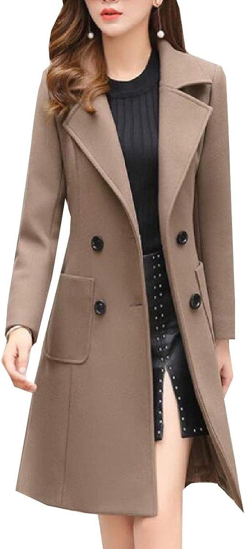 Women Warm Long Sleeve Winter Lapel Wool Plus Size Trench Coat Outwear