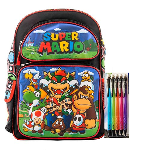 Super Mario Backpack Book Bag Travel Everyday bag pouch with Stationary Supplies (16 Inch)