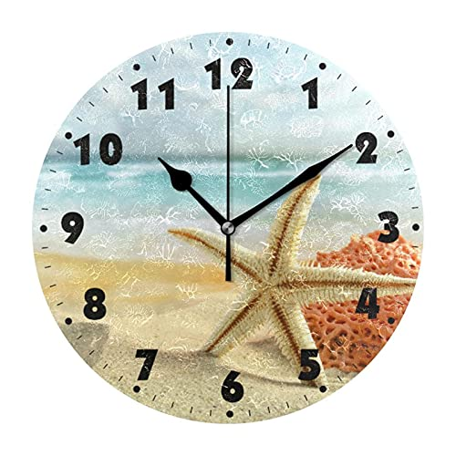 HarMonn Reloj de Pared Marine Seashells Redondo de Pared Reloj de Pared Tranquilo Batería Operada Sala de Estar Reloj de Pared silencioso Sin tictac Escritura Estrella de mar Relojes de Pared Arte