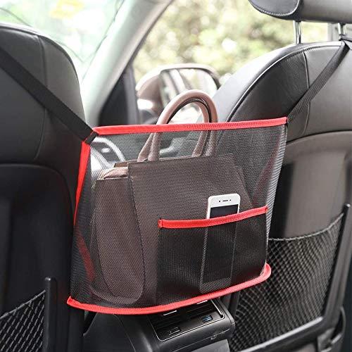 FANIER Auto Netz Tasche Handtasche Halter Organizer, Sitz Seite Lagerung Mesh Netz Tasche Auto Aufbewahrungstasche Auto Aufbewahrungsbox Auto Tasche-Rot